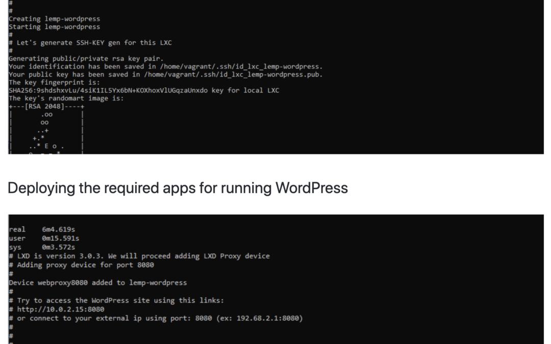 Generate WordPress from local machine using Nginx / LXD/LXC