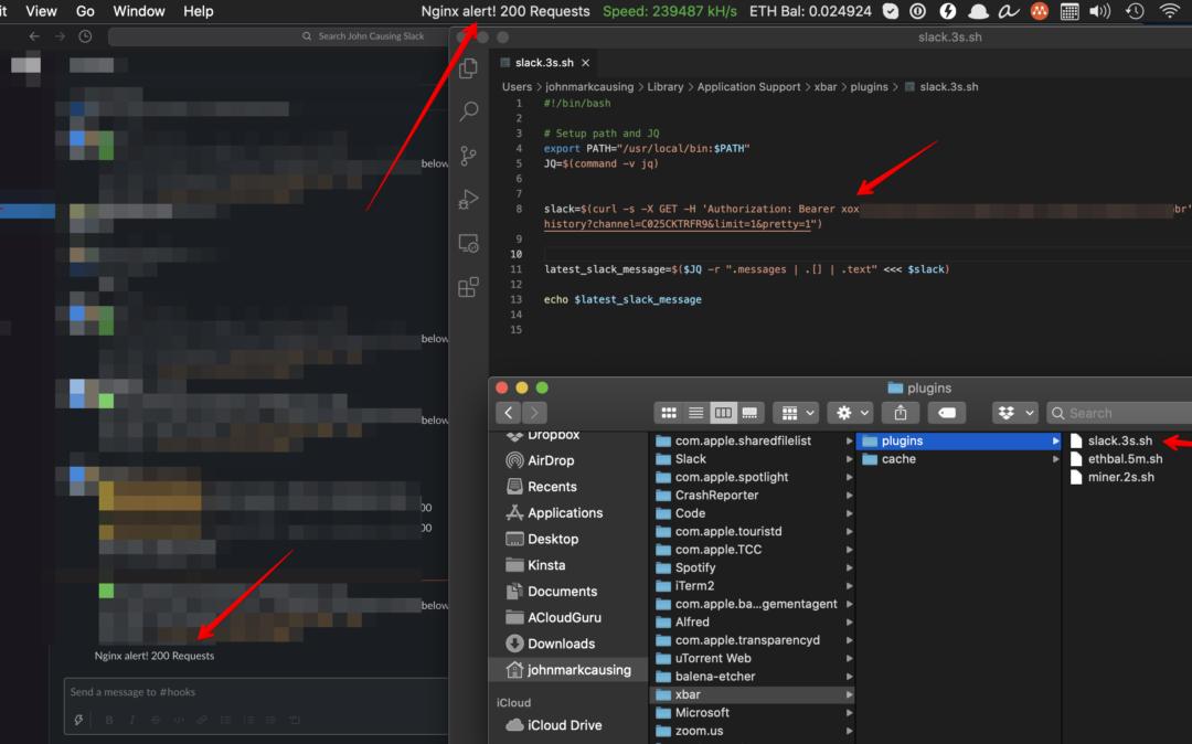 Slack API send and receive messages (cron + xbar MacOS)