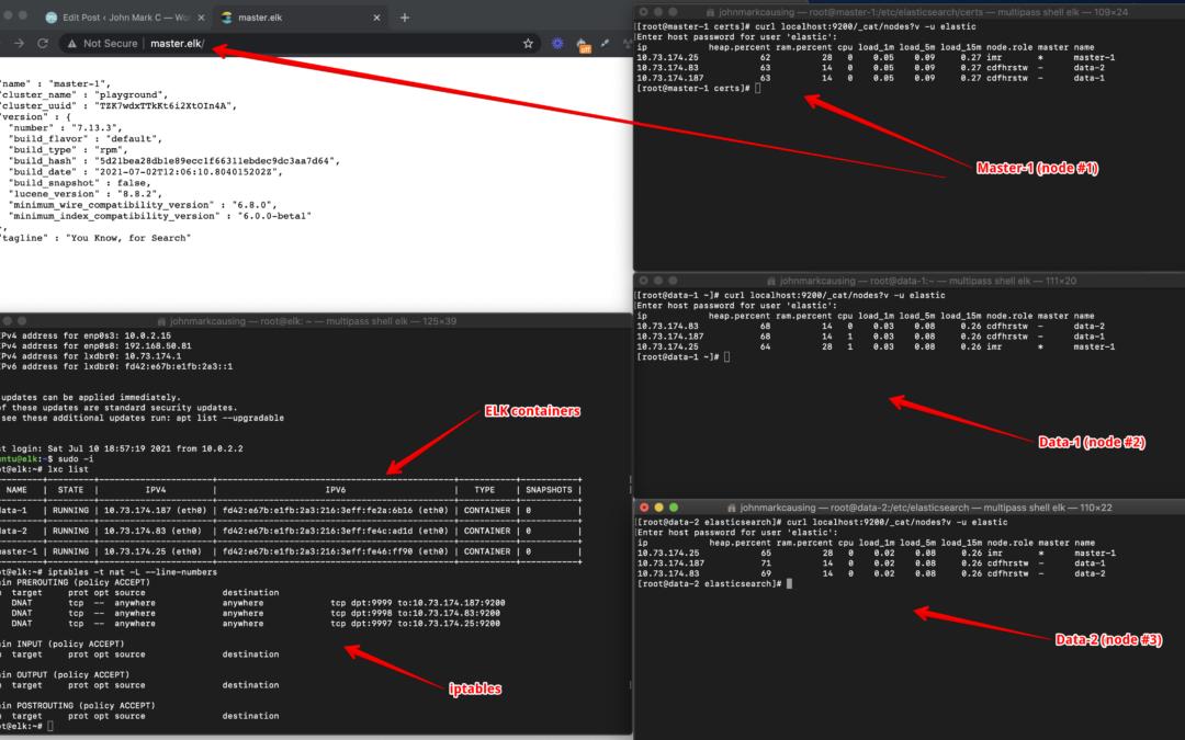 ELK using Multipass (MacOS) + LXD/LXC – Part 1 – Elasticsearch secured install